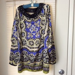 Nicole Miller Blouse Sz 16 Embroidered Beads s 16